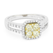 0.94ct Yellow & White Diamond Pave Right-Hand Cluster Ring in 2-Tone 14k Yellow & White Gold