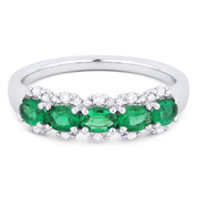 0.96ct Oval Cut Emerald & Round Diamond Pave Anniversary Ring / Band in 18k White Gold