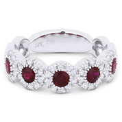 0.96ct Round Brilliant Cut Ruby & Diamond Halo Anniversary Ring in 18k White Gold