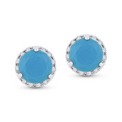 0.98ct Round Cut Blue Turquoise & Diamond Halo Martini Stud Earrings in 14k White Gold