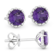 1.05ct Round Brilliant Cut Purple Amethyst & Diamond Halo Stud Earrings in 14k White Gold