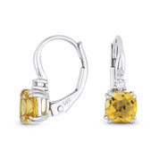 1.06ct Cushion Cut Citrine & Round Diamond 14x5mm Leverback Drop Earrings in 14k White Gold