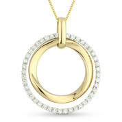 1.08ct Round Cut Diamond Eternity Double-Circle Pendant & Chain Necklace in 14k Yellow & White Gold