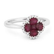 1.09ct Ruby Cluster & Diamond Pave Right-Hand Flower Ring in 18k White Gold