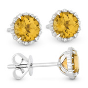 1.10 ct Round Brilliant Cut Citrine & Diamond Halo Stud Earrings in 14k White Gold