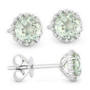 1.14ct Round Brilliant Cut Green Amethyst & Diamond Halo Stud Earrings in 14k White Gold