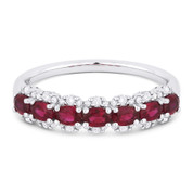 1.17ct Oval Cut Ruby & Round Diamond Pave Anniversary Ring / Wedding Band in 18k White Gold