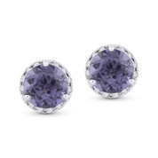 1.17ct Round Brilliant Cut Synthetic Alexandrite & Diamond Halo Martini Stud Earrings in 14k White Gold