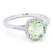 1.19ct Round Brilliant Cut Green Amethyst & Diamond Halo Promise Ring in 14k White Gold