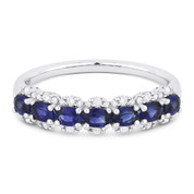 1.19ct Oval Cut Sapphire & Round Diamond Pave Anniversary Ring / Wedding Band in 18k White Gold