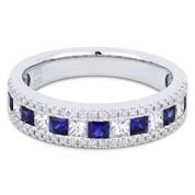 1.22ct Princess Cut Sapphire & Diamond & Round Diamond Pave Anniversary Ring / Wedding Band in 18k White Gold