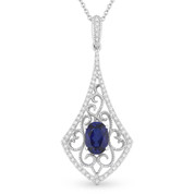 1.26ct Oval Cut Blue Lab-Sapphire & Diamond Edwardian-Style Pendant & Chain Necklace in 14k White Gold