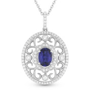 1.33ct Oval Cut Blue Lab-Sapphire & Diamond Edwardian-Style Pendant & Chain Necklace in 14k White Gold