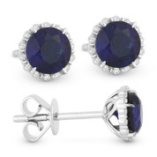 1.43ct Round Brilliant Cut Lab-Created Blue Sapphire & Diamond Halo Stud Earrings in 14k White Gold
