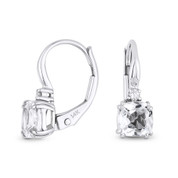 1.44ct Cushion Cut White Topaz & Round Diamond 14x5mm Leverback Drop Earrings in 14k White Gold