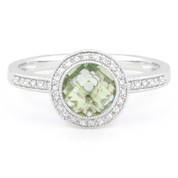 1.45ct Checkerboard Green Amethyst & Round Cut Diamond Pave Halo-Design Ring in 14k White Gold