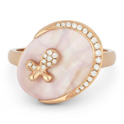 1.48ct Oval Mother-of-Pearl & Round Cut Diamond Right-Hand Cocktail Ring in 14k Rose Gold