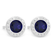 1.45ct Round Brilliant Cut Lab-Created Blue Sapphire & Diamond Martini Stud Earrings in 14k White Gold