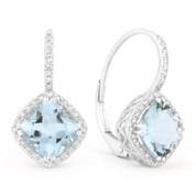 4.00ct Cushion Cut Blue Topaz & Round Diamond Leverback Drop Earrings in 14k White Gold