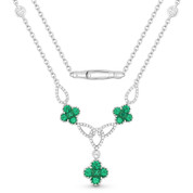 1.61ct Round Brilliant Cut Emerald Cluster & Diamond Pave Flower Charm Statement Necklace in 18k White Gold
