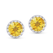 1.67ct Round Brilliant Cut Citrine & Diamond Halo Martini Stud Earrings in 14k White Gold