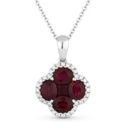 1.84ct Oval & Princess Ruby & Round Diamond Flower Pendant in 18k White Gold w/ 14k Chain Necklace