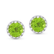 1.99ct Round Brilliant Cut Peridot & Diamond Halo Martini Stud Earrings in 14k White Gold