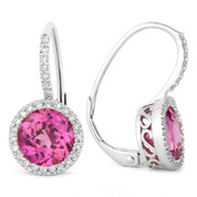 3.88ct Round Brilliant Cut Lab-Created Pink Sapphire & Diamond Leverback Drop Earrings in 14k White Gold