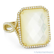 10.35ct Checkerboard Cushion Mother-of-Pearl & Round Cut Diamond Pave Cocktail Ring in 14k Yellow Gold