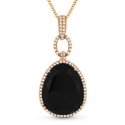 10.76ct Pear-Shaped Black Onyx & Round Cut Diamond Halo Pendant & Chain Necklace in 14k Rose Gold
