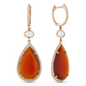 10.84ct Red Agate, White Topaz, & Diamond Pave Dangling Tear-Drop Earrings in 14k Rose Gold