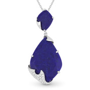 12.31ct Fancy Cut Blue Lapis & Round Diamond Pave Pendant & Chain Necklace in 14k White Gold
