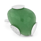12.38ct Fancy Checkerboard Cut Green Aventurine & Diamond Cocktail Ring in 14k White Gold
