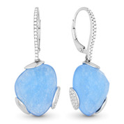 12.74ct Checkerboard Blue Jade & Round Diamond Dangling Earrings in 14k White Gold