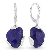 12.97ct Checkerboard Blue Lapis & Round Dangling Earrings in 14k White Gold