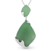 13.28ct Fancy Cut Aventurine & Round Diamond Pave Pendant & Chain Necklace in 14k White Gold