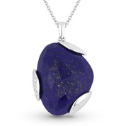 14.34ct Fancy Checkerboard Blue Lapis & Round Diamond Pave Pendant & Chain Necklace in 14k White Gold