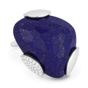 14.47 ct Fancy Checkerboard Cut Blue Lapis & Diamond Cocktail Ring in 14k White Gold