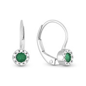 0.27ct Round Cut Emerald & Diamond Leverback Drop Baby Earrings in 14k White Gold