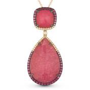 15.13ct Pink Tourmaline, Sapphire, Diamond Statement Pendant & Chain Necklace in 14k Rose & Black Gold