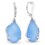 15.39ct Blue Jade & Diamond Flower & Vine Dangling Earrings in 14k White Gold