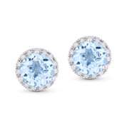 2.01ct Round Brilliant Cut Blue Topaz & Diamond Halo Martini Stud Earrings in 14k White Gold