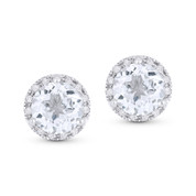 2.02ct Round Brilliant Cut White Topaz & Diamond Halo Martini Stud Earrings in 14k White Gold