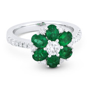 2.03ct Oval Cut Emerald & Round Brilliant Diamond Flower-Design Cocktail Ring in 18k White Gold