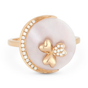 2.06ct Circle Mother-of-Pearl & Round Cut Diamond Right-Hand Cocktail Ring in 14k Rose Gold