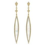 2.06ct Mother-of-Pearl & Diamond Pave Dangling Long-Marquise Stiletto Earrings in 14k Yellow Gold