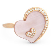 2.11ct Heart-Shaped Mother-of-Pearl & Round Cut Diamond Right-Hand Cocktail Ring in 14k Rose Gold
