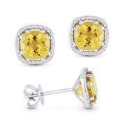 2.23ct Cushion Cut Citrine & Round Diamond 8-Prong Square-Halo Stud Earrings in 14k White Gold