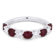 2.23ct Oval Cut Ruby & Round Diamond 9-Stone Anniversary Ring / Wedding Band in 18k White Gold
