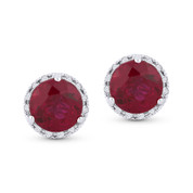 2.30ct Round Brilliant Cut Lab-Created Ruby & Diamond Halo Martini Stud Earrings in 14k White Gold
